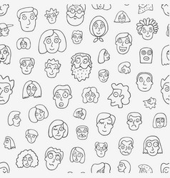 faces people - seamless pattern vector image