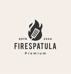 fire spatula hipster vintage logo icon vector image