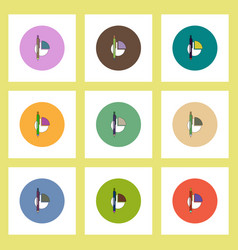 Flat icons set of business pie chart and pen vector