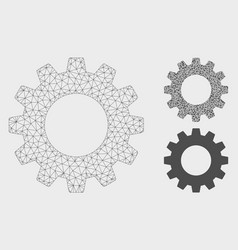 Gear mesh 2d model and triangle mosaic icon vector