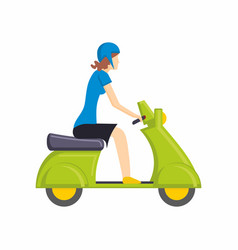 Girl on green scooter bike flat vector
