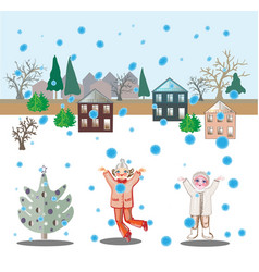 Girls and snowfall vector