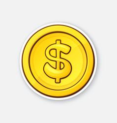 gold coin american dollar cash money vector image