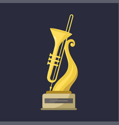 Gold rock star trophy music saxophone best vector