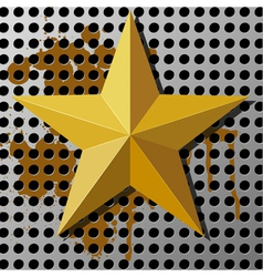 Gold star on a metal background with holes vector