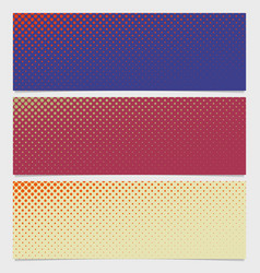 Halftone circle pattern horizontal banner set vector