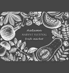 Hand sketched autumn design on chalkboard elegant vector