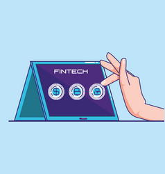 Hand using tablet with fintech concept vector