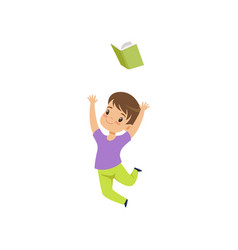 Happy little boy jumping with book cute kid vector