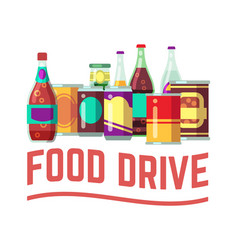 Holiday food drive concept canned food vector