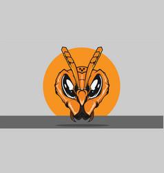 Hornet head orange vector