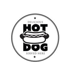 hot dog vintage stamp logo vector image