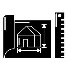 house plan icon simple black style vector image