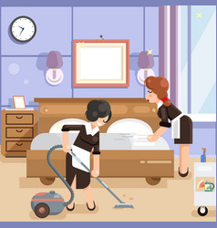 Housemaid cleaners clean hotel room cleanliness vector