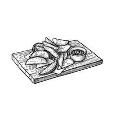 ink sketch potato wedges vector image
