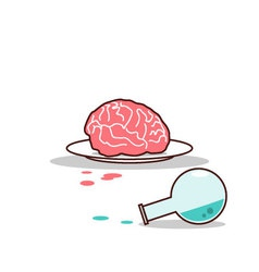 Isolated cartoon brain on plate and blue chemical vector image