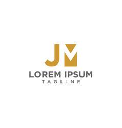 jm negative space logo vector image