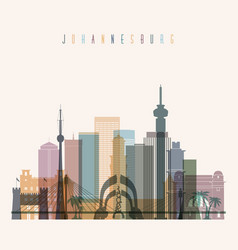 Johannesburg skyline detailed silhouette vector