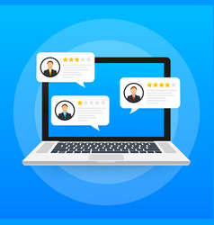 Laptop with customer review rating messages vector