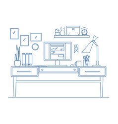 line art workplace in flat style of vector image