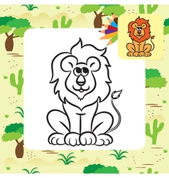 lion coloring page vector image