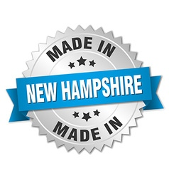 Made in New Hampshire silver badge with blue vector