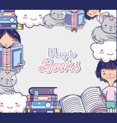 magic book cartoons vector image