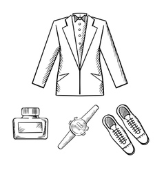 Male formal outfit with jacket shoes watch vector