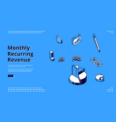 monthly recurring revenue isometric web banner vector image