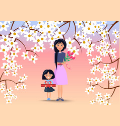 mother and little daughter with flowers and gift vector image