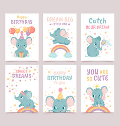 nursery elephant posters animal decoration for vector image