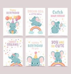 nursery elephant posters animal decoration vector image