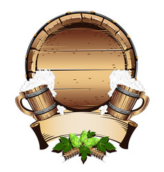 Old wooden barrel with beer vector