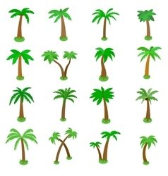 Palm tree icons set isometric 3d style vector