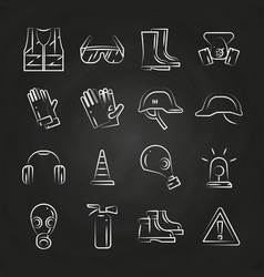 Personal protective equipment thin line icons on vector
