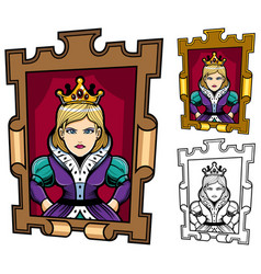 queen cartoon portrait vector image