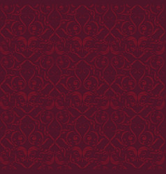 Red velvet flourish ornated seamless background vector