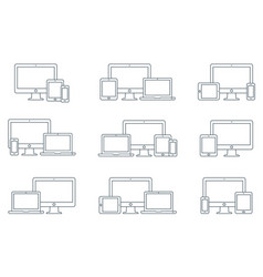responsive digital devices icons set vector image