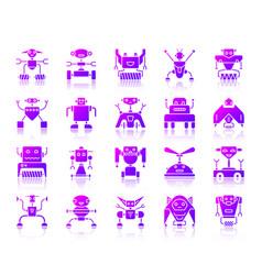 Robot simple purple gradient icons set vector