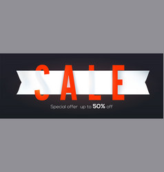 sale creative banner isolated on black background vector image