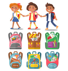 schoolchildren hold hands backpacks with supplies vector image