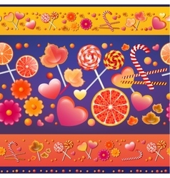 seamless pattern with sweets and lollipops vector image
