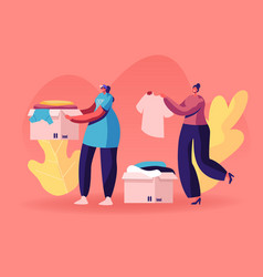Selfless kind women volunteers in t-shirts vector