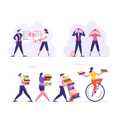 set business characters overloaded with work vector image