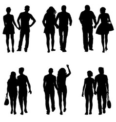Set couples man and woman silhouettes on a white vector