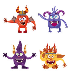 Set of cute funny characters troll goblin yeti vector