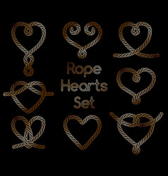 Set of golden rope hearts decorative knots vector