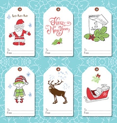 Set of New Year gift tags template Hand drawn vector image