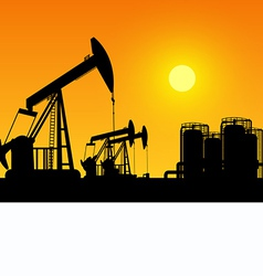Silhouette working oil pumps on sunset background vector