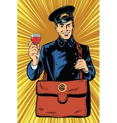 Smiling retro postman with a greeting glass of vector image